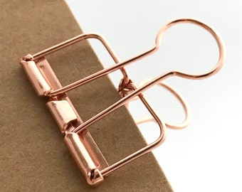 Rose Gold Planner Clips Binder Accessories Bull Clips Skeleton Paper Clips Copper Bronze x 3