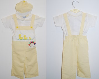 80s Chandler outfit ducks baseball 12M striped overalls hat suspenders shirt matching