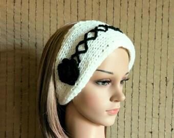 Corset Flower Headband Ear Warmer, Head Wrap