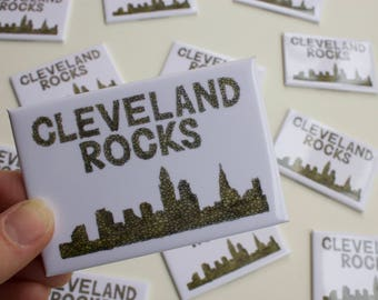 Cleveland Rocks, Cleveland Ohio, Cleveland Skyline, Rock Hall, Refrigerator Magnet, CLE, Cleveland Magnet, Believeland, 2x3 Fridge Magnet