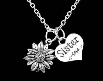 Sister Gift, Daisy Flower Necklace, Sister Necklace, Sisters Necklace, Nature Necklace, Flower Necklace