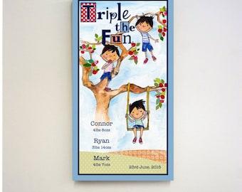 Triplet Gift - Triplets Gift - Personalised Triplet Art - Triplet Nursery Art - Triplet Boys - Personalized Triplet Print - Triplet Print
