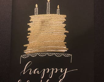 Birthday Card Golden Cake Embossed