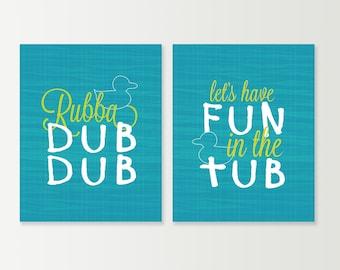 Rubber Ducky Bathroom Prints - Kids Bathroom Prints - Rubba Dub Dub - Rubber Ducky Art SET of 2 Bath Art - Bath Decor Turqouise & Lime Shown