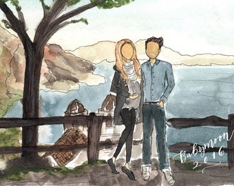 Custom Illustrated Portrait for Babymoon Gift. Illustrated Fashion Sketch of Couple for Baby Shower Gift.