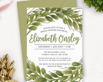 Viel Grün Bridal Shower Einladung zum ausdrucken | Aquarell Bridal Shower Einladung zum ausdrucken | Druckbare Hochzeit Dusche Einladungen