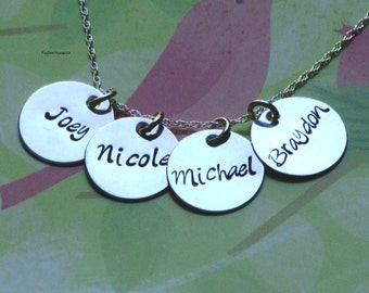 Sterling silver four charm hand stamped necklace
