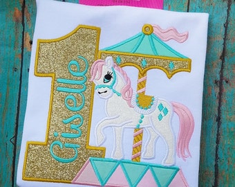 Gold, Pink and Mint Vintage Pony Carousel Custom Personalized Birthday Number Shirt or Onesie