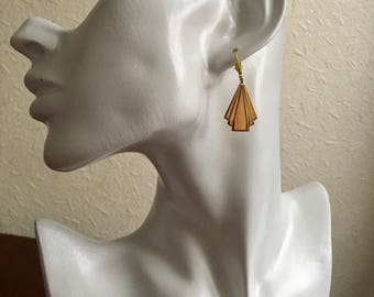 Gold Deco Drop Earrings: Gold Plated Art Deco Drop Minimalist Bride/Bridesmaid Prom Earrings