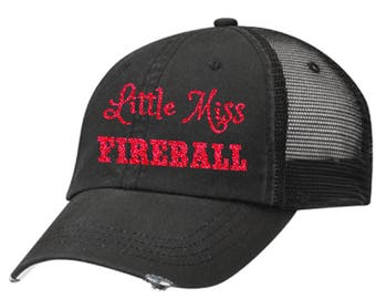 Little Miss Fireball Distressed Ladies Baseball Hat | Mesh | Trucker | Country | Southern | South