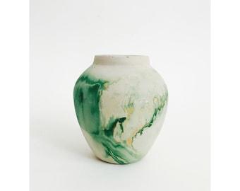 Vintage Nemadji Pottery Vase or Planter / Green Swirls