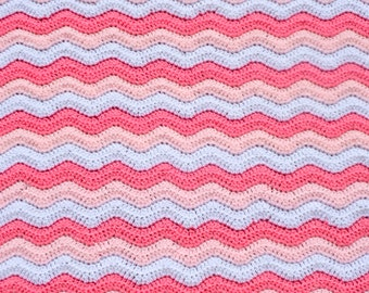 Pink Stripes Blanket, Baby Girl Blanket, Newborn Crochet, Infant Crib Bedding, Stroller Afghan, Nursery Blanket, Wavy Ripple Pram, Baby Item