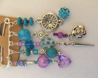 Turquoise and lilac kilt pin brooch