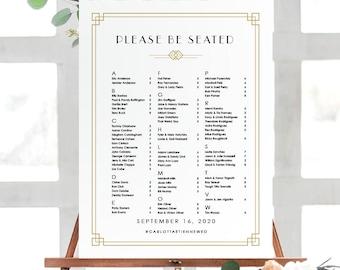 Art Deco Wedding Seating Chart Poster | Wedding Seating Chart Sign | Printable Wedding Poster | Printed Poster | Art Deco Wedding, Carlotta