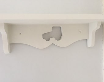 Nursery tractor farm shelf boys room girls room painted white sturdy and solid 60cms new