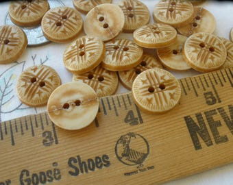 """Faux bone tribal pattern Buttons 5/8"""" 23L 15MM 2 hole sew on Vintage retro kitsch sewing scrapbooking tag supply sandy brown 24 pieces"""