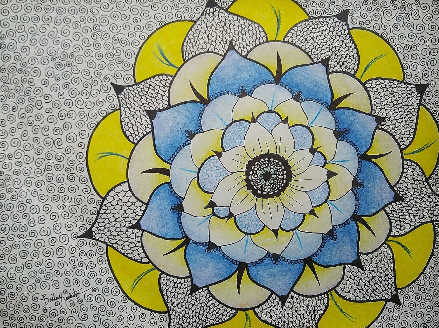 Blue And Yellow Flower Drawing