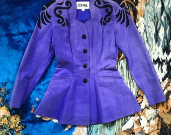 80s purple leather fitted jacket