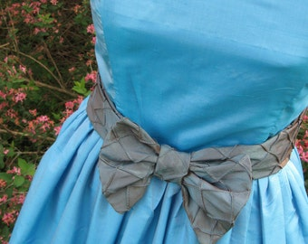 Flirty Blue Brown Dress Dupioni Silk and Taffeta