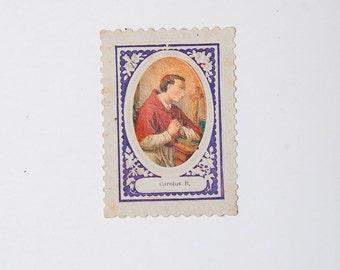 French antique religious prayer card representing Carolus B.