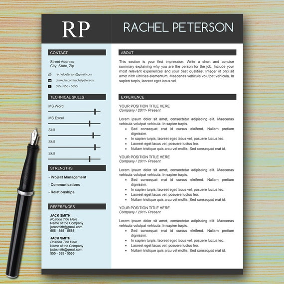 Charmant Professional One Page Resume Template For Microsoft Word + Cover Letter +  Writing Tips | Modern Professional CV | INSTANT DOWNLOAD!