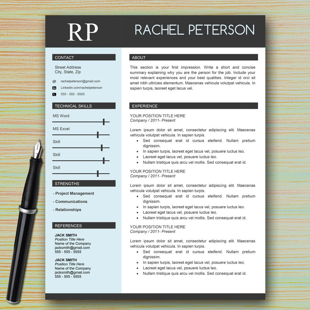 Professional One Page Resume Template For Microsoft Word + Cover Letter +  Writing Tips | Modern  Modern Resume Tips