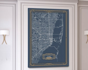 MIAMI Florida map Art Deco Large Canvas print Map Horizontal Wall art canvas print ready to hang Gallery Art Deco Map Style