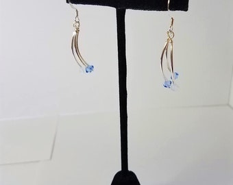 Earrings Blue Crystal on Silver Tubes