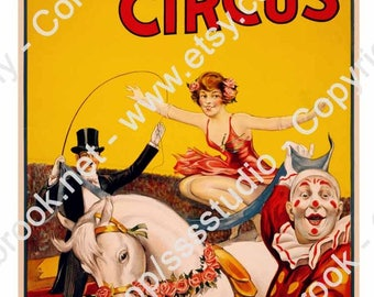 Large Vintage Circus Poster, Showman, Party or Carnival Banner, Digital Poster, Birthday Party supplies, Carnival Poster, Big Top Decor