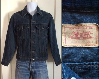 Vintage 1980's Black Over dyed Levi's Denim Jean Jacket made in USA size Small Black Tab