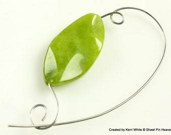 Olive Green Beaded Shawl Pin Brooch Scarf Pin