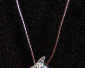 Silver Northern Whale on Leather Cord