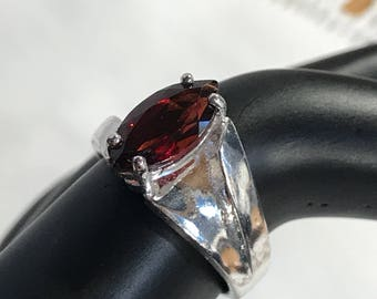 Vintage Marquise Cut Garnet Sterling Silver Ring Size 7