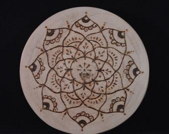 Found Wood Crystal Grid with pyrography mandala design