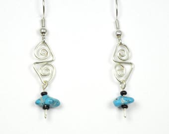 Turquoise Stone with Silver Wirework Earrings