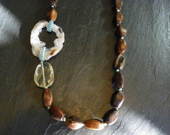 Earthy Geode and Wood Necklace