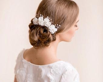 Bridal Hair Pin Set Chiffon and Pearls - Wedding Hair Accessories Flower - Bridal Hair Accessories Floral Pearl- Selected Color