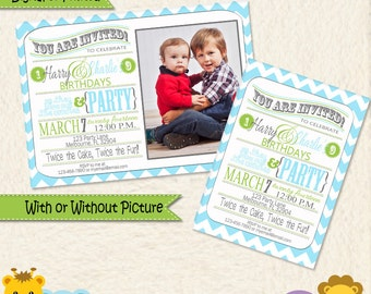 Siblings Joint Party Turquoise Lime Green and Grey Chevron Invitations • Shared Birthday Invite • Brothers Birthday • Sisters Birthday • 01D