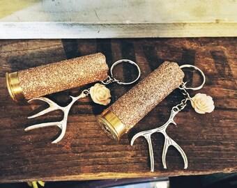 Deer Antler and Flower Charm Rose Gold Glitter 12 Gauge Shotgun Shell Keychain
