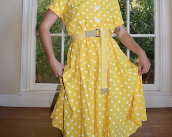 Yellow Polka Dotted Summer Dress
