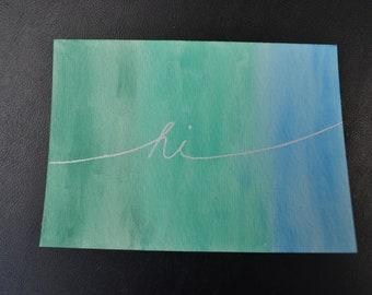 hi/thank you/congrats/yay/oops watercolor cards set of 5
