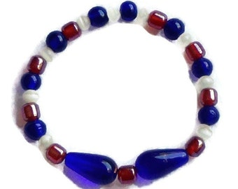 July 4th Bracelet / Patriotic Bracelet / July 4th Jewelry / Holiday Jewelry / Red white and Blue Bracelet
