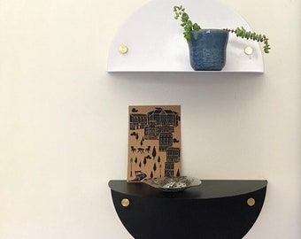 metal shelf  - floating shelf,  semi circle in whiteor black, decorative shelf for entrance or for office decor
