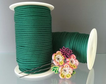 100m / 109yd  Deep Green Polyester rope 3mm thick diy crafts jewelry rope bijoux polyester cord