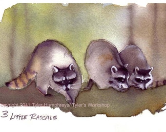 Raccoon Greeting Card, Raccoons Watercolor Painting Illustration Print 'Three Little Rascals'