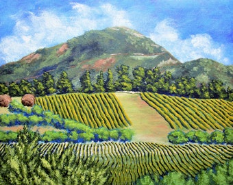 "Vineyards Near Nice, France (ORIGINAL ACRYLIC PAINTING) 8"" x 10"" by Mike Kraus - art wine provence mountain french clouds farms riviera fun"