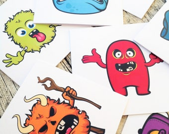 Halloween bumper writing set, Monster Kawaii stationery, Happy mail cards, Greeting cards, Pen pal, creature stationary, cards, Kawaii