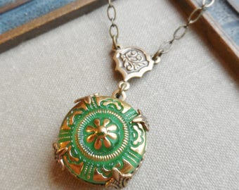 Vintage Glass Button Necklace, Spring Green Floral Design with Gold Highlights, Designs by Timeless Trinkets