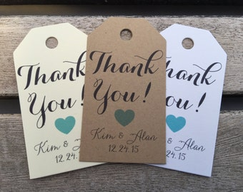Small Wedding Gift Tags - Thank You - Wedding Favor Tags - Customizable Personalized (WT1468)