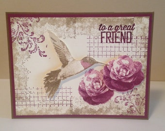 Stampin up Timeless Textures Humming Bird Flower Birthday card